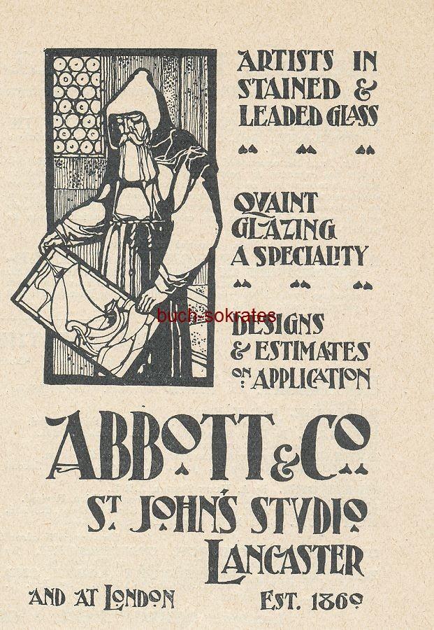 Werbe-Anzeige / Werbung/Reklame Abbott & Co. - Artists in Stained & Leades Glass (Buntglas / Bleiglas) - Quaint Glazing a Speciality - Abbott & Co., St. John s Studio, Lancaster, est. 1860 (SP01)