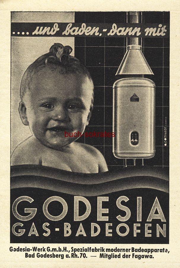 Werbe-Anzeige / Werbung/Reklame Godesia Gas-Badeofen - Godesia-Werk GmbH, Bad Godesberg (BG36/7)