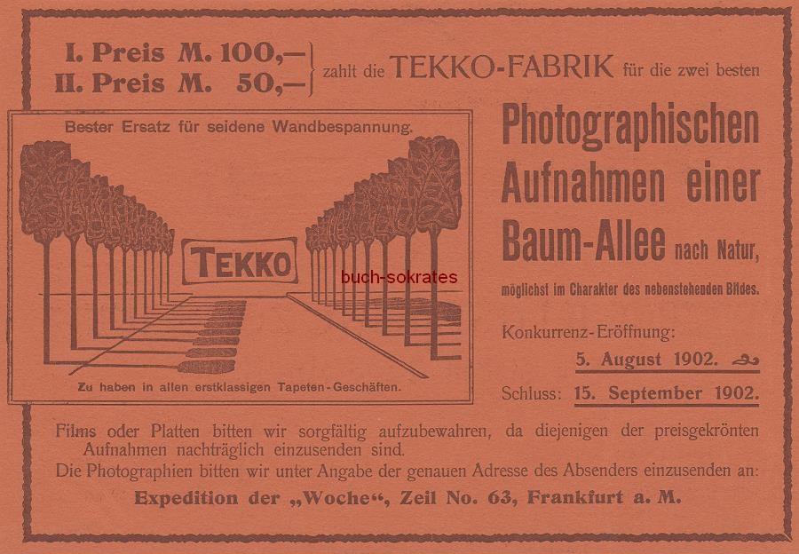 Werbe-Anzeige / Werbung/Reklame Foto-Preisausschreiben der Tekko-Fabrik für die Photographischen Aufnahme einer Baum-Allee nach Natur (DW02)