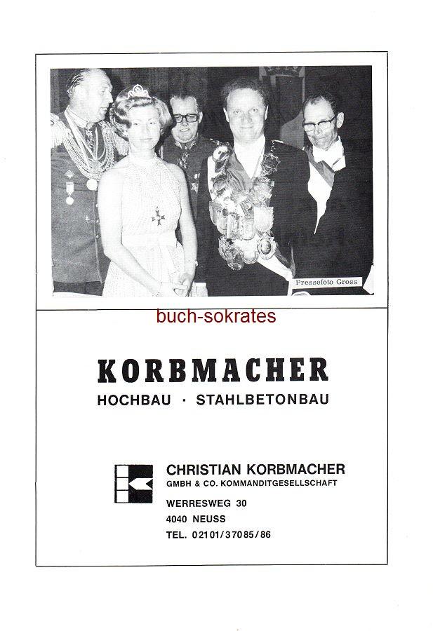 Werbe-Anzeige / Werbung/Reklame Korbmacher Hochbau Stahlbetonbau - Christian Korbmacher GmbH & Co KG, Werresweg 30, Neuss - Foto in Schützenfestverkleidung (SP78)