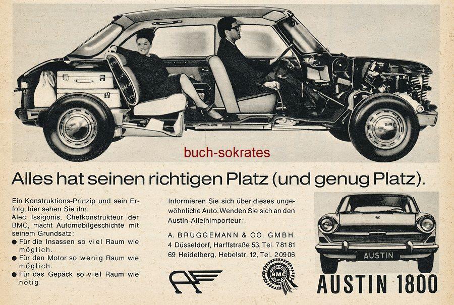 Werbe-Anzeige / Werbung/Reklame Austin 1800 - Alles hat seinen richtigen Platz (und genug Platz) - Austin-Alleinimporteur: A. Brüggemann + Co. GmbH, Düsseldorf, Harffstr. 53 (AM65/12)