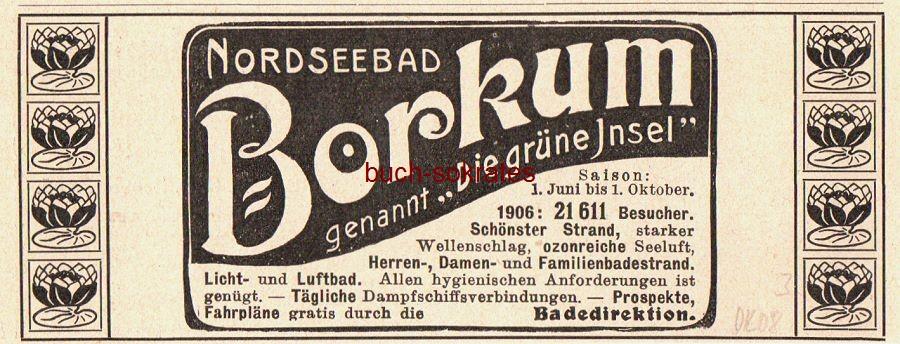 Werbe-Anzeige / Werbung/Reklame Nordseebad Borkum, genannt