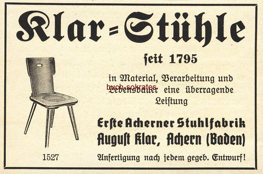 Werbe-Anzeige / Werbung/Reklame Klar-Stühle - Erste Acherner Stuhlfabrik August Klar, Achern (Baden) (BG36/7)