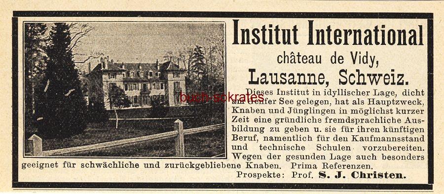 Werbe-Anzeige / Werbung/Reklame Institut International chateau de Vidy, Lausanne (DK03)