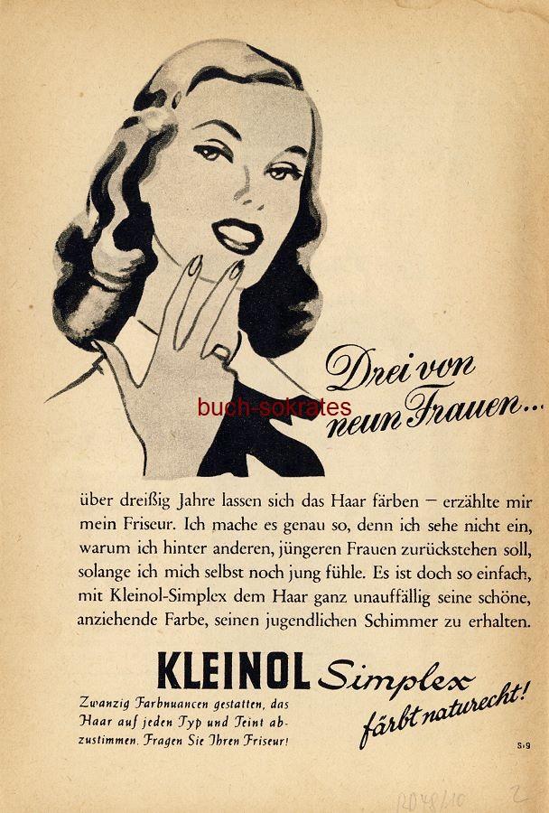 Werbe-Anzeige / Werbung/Reklame Kleinol Simplex - Haarfärbemittel (RD48/10)