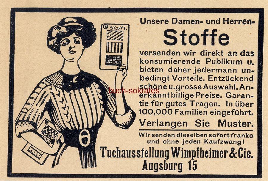 Werbe-Anzeige / Werbung/Reklame Damen- und Herren-Stoffe - Tuchausstellung Wimpfheimer & Cie, Augsburg (DW10/41)