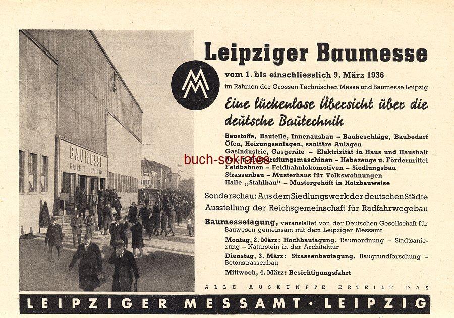 Werbe-Anzeige / Werbung/Reklame Leipziger Baumesse vom 1. bis einschließlich 9. März 1936 - Leipziger Messamt, Leipzig (BG36/4)