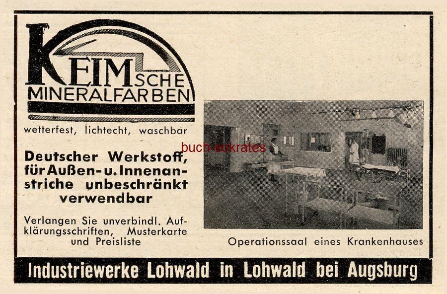 Werbe-Anzeige / Werbung/Reklame Keim sche Mineralfarben - Industriewerke Lohwald in Lohwald bei Augsburg (BG36/2)