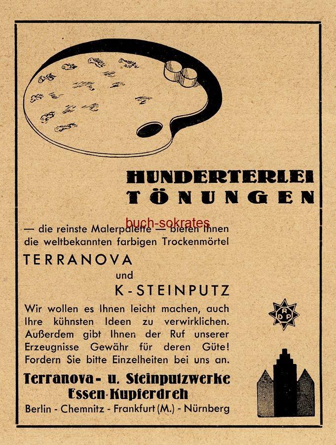 Werbe-Anzeige / Werbung/Reklame Terranova Trockenmörtel und K-Steinputz - Terranova- u. Steinputzwerke, Essen-Kupferdreh (BG34/18)