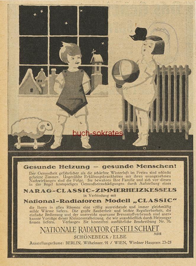 Werbe-Anzeige / Werbung/Reklame NARAG-Classic-Zimmerheizkessel - Gesunde Heizung - gesunde Menschen! - Nationale Radiator Gesellschaft, Schönbeck / Elbe (BI26/3)