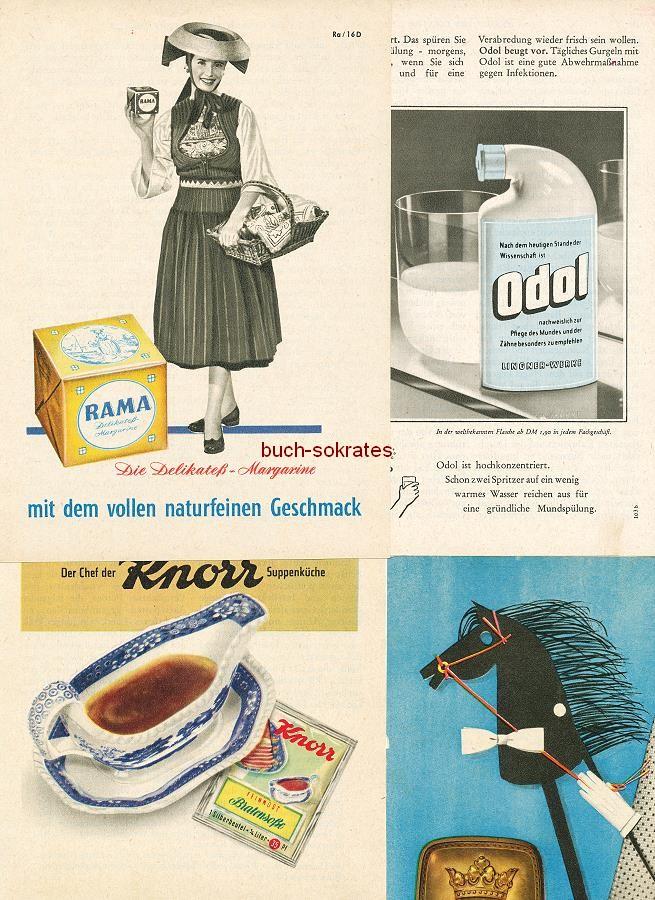 Werbe-Anzeige / Werbung/Reklame Konvolut Annoncen Werbegraphik 50er Jahre: Rama Margarine, Knorr Bratensoße, Edsor Krawatten, Kukident, Martini, Sonnecken-Füllhalter, Maggi Eiermuschel-Suppe, Wissoll-Pralinen (1952-58)