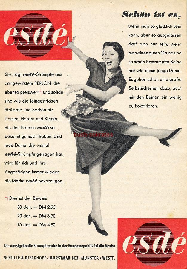 Werbe-Anzeige / Werbung/Reklame Konvolut Annoncen Werbegraphik 50er Jahre: esdé-Damenstrümpfe (1956)