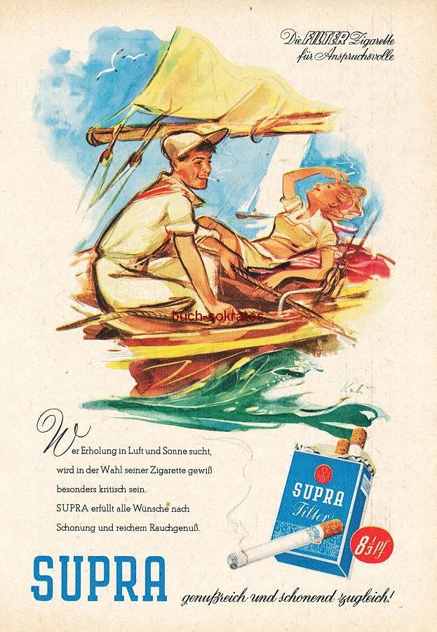Werbe-Anzeige / Werbung/Reklame Konvolut Annoncen Werbegraphik 50er Jahre: Supra-Zigaretten (1956)