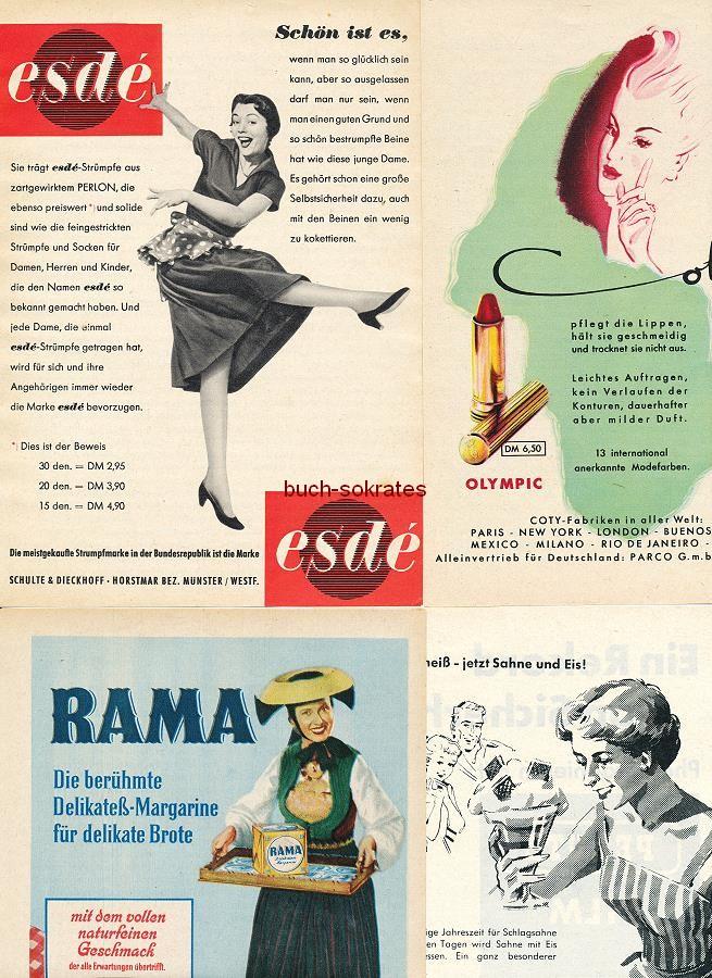 Werbe-Anzeige / Werbung/Reklame Konvolut Annoncen Werbegraphik 50er Jahre: esdé-Damenstrümpfe, Coty-Lippenstift, Rama-Margarine, Sahne, Supra-Zigaretten, Maggi Rindersuppe, Underberg, Fleurop etc. (1952-60)