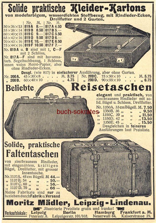 Werbe-Anzeige / Werbung/Reklame Mädler Reisetaschen - Moritz Mädler, Leipzig-Lindenau (DW08/47)